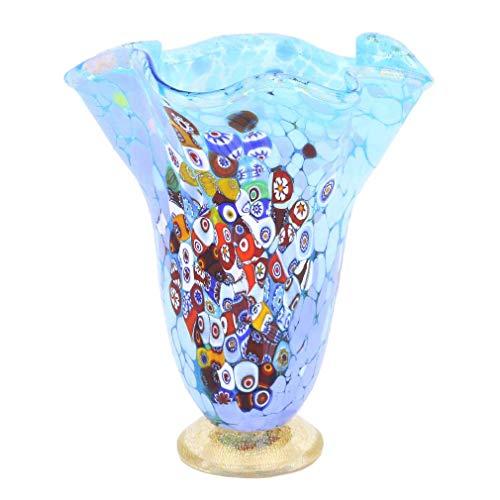 GlassOfVenice Murano Glass Millefiori Fazzoletto Vase - Aqua Blue