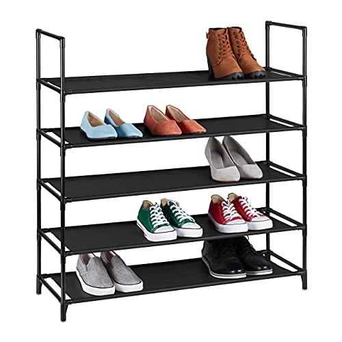 Relaxdays Zapatero XL, 5 Niveles, para 20 Pares de Zapatos, plástico, 90,5 x 87,5 x 30 cm, Color Negro