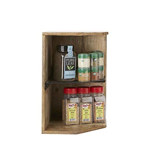 Mind Reader 2WISH-BRN Mango Wood, Iron 2 Tier Shelf, Kitchen Corner, Living Area, Storage, Spice Rack, Organizer, Brown