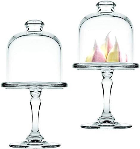 Mini bandeja para tartas con pie y campana de cristal, juego de 2 unidades