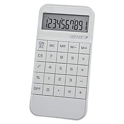 Genie 40W 10-stelliger Taschenrechner (Batterie-Power, kompaktes Design) weiß