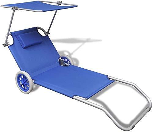 Spiaggina Trolley con ruote sedia da spiaggia con struttura pieghevole tetto parasole e cuscino imbottito