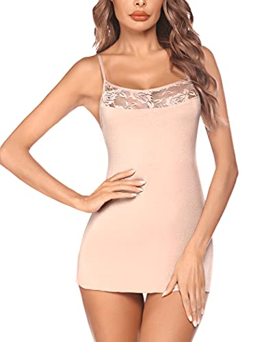 Avidlove Women Lingerie Sexy Chemise Sleepwear Lingerie Nightgown Apricot Medium