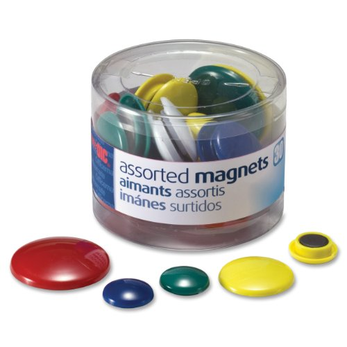 Officemate Round Plastic Covered Magnets - Durable & Longlasting Magnets for School, Office, Refrigerator, Whiteboard, Kitchen, Notice Board - 5 Assorted Colours (Pack of 30)