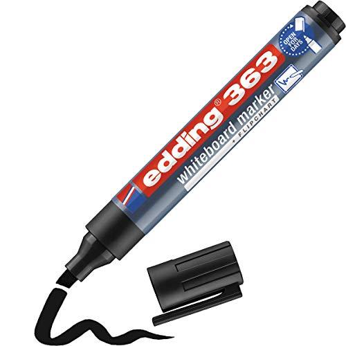 edding 363 Whiteboardmarker - schwarz - 1 Whiteboard Stift - Keilspitze 1-5 mm - Boardmarker abwischbar - für Whiteboard, Flipchart, Magnettafel, Pinnwand, Memoboard - Sketchnotes - nachfüllbar