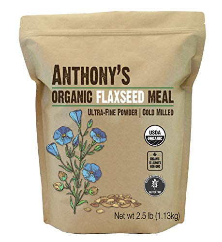 Anthony's Organic Flaxseed Meal, 2.5 lb, Gluten Free, Ground Ultra Fine Powder, Cold Milled, Keto Friendly