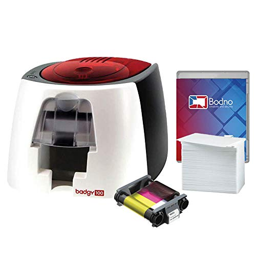 Badgy100 Color Plastic ID Card Printer with Complete Supplies Package with Bodno ID Software