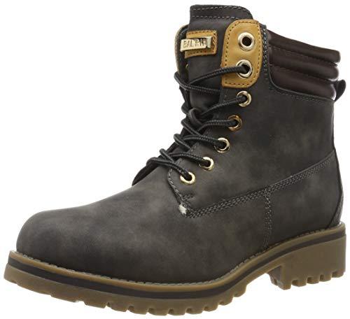 Warm Gefütterte Stiefeletten Damen Worker BootsOutdoor Winterstiefel Schnür Wildleder-Optik Schuhe 125748 Grau 42 Flandell