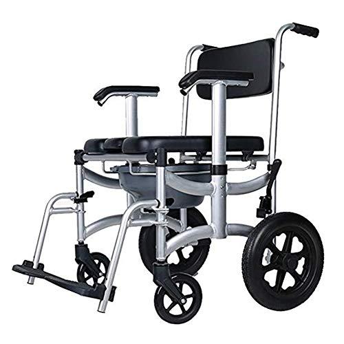 Kommode WC Duschstuhl Rollen Mit Rollen 4 Räder Bremsen Abnehmbares Pedal Verstellbare Armlehne Faltbarer Duschstuhl