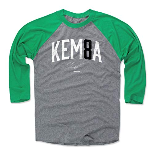 500 LEVEL Kemba Walker Tee Shirt (Baseball Tee, Large, Green/Heather Gray) - Boston Raglan Tee - Kemba Walker Name Number K WHT