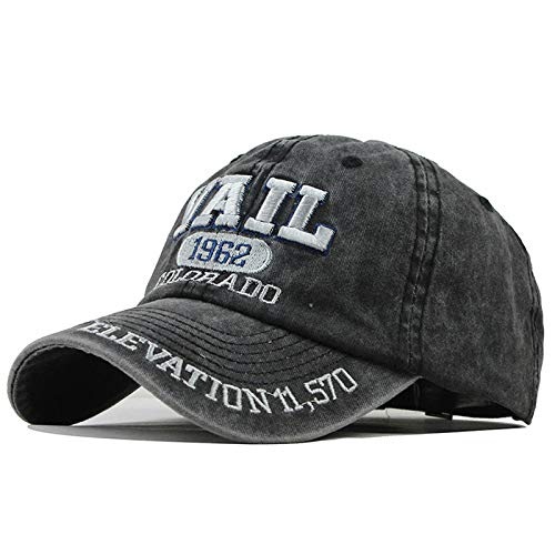 xiaochicun Washed Old Female Hat Casual Soft Top Letter Bordado Gorra Mujer Wild Bend Gorra de béisbol Marea Masculina F311 Negro Ajustable
