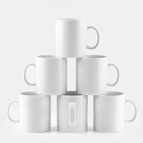 Amuse- Professional Barista Classic Large Mug for Coffee, Tea, Chocolate or Latte- Set of 6-15 oz