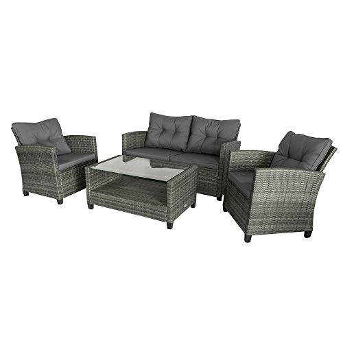 Outsunny 4-Piece Outdoor Patio Rattan Furniture Set with 2 Chairs, 1 Double Couch, & a Coffee Table & Cushions, Onyx