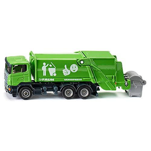 Siku 1890, Müllwagen, 1:87, Metall/Kunststoff, grün, Kippbare Sammelvorrichtung, Große Mülltonne als Zubehör