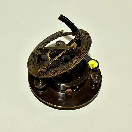 Messing-Sonnenuhr-Kompass mit Wasserwaage, 7,6 cm, antiker maritimer Kompass