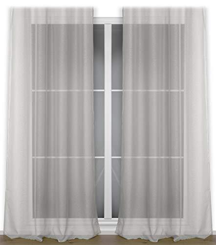 BEAUTEX Vorhang mit Ösen oder Kräuselband, transparente Gardine Dolly, Farbe und Größe wählbar (Ösenschal - Breite 140 cm - Höhe 240 cm - 2 Stück - Stein)