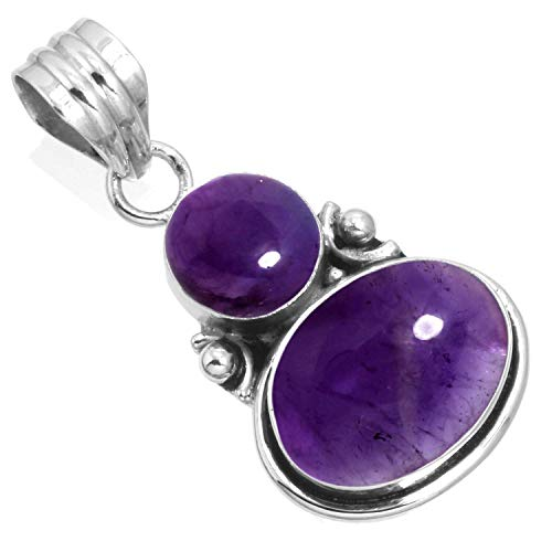 925 Sterling Silver Women Jewelry Natural Amethyst Pendant