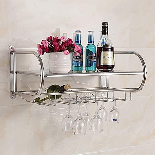 Muebles de bar para el hogar - Estante para vino de metal, acero inoxidable, soporte para copas de vino, colgador para copas, estante al revés, estante para cocina, horno microondas, estante para pl