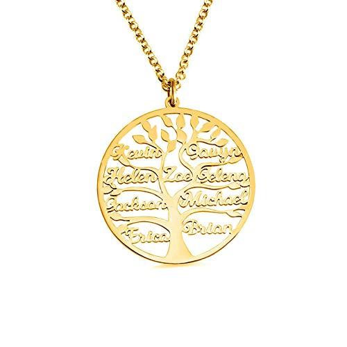 Fnho Chain Necklace for Valentine's Day,Girlfriend Birthday Anniversary,Collar Árbol de la Vida, Accesorio Creativo y Personalizado-Dorado