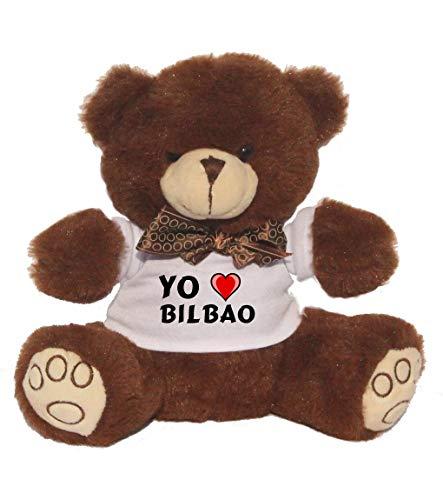 Shopzeus Oso marrón de Peluche con Amo Bilbao en la Camiseta (Ciudad / asentamiento)