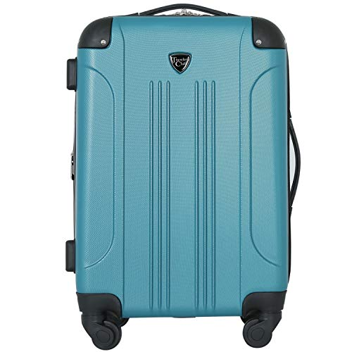 Travelers Club Chicago Hardside Expandable Spinner Luggage, Teal, Carry-On 20-Inch