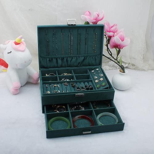 XGYUII Caja de joyería de franela de doble capa, con organizador de joyas de terciopelo líder de bloqueo