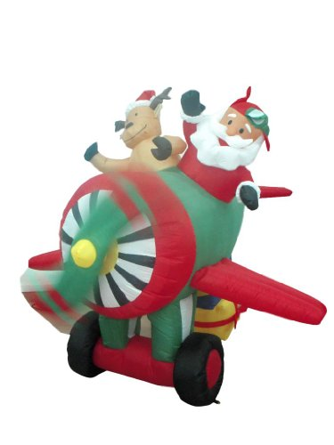 6 Foot Long Animated Christmas Inflatable Santa Claus and Reindeer on Airplane Yard Decoration Lights Decor Outdoor Indoor Holiday Decorations, Blow up Lighted Yard Decor, Lawn Inflatables Home
