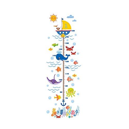 Winhappyhome Underwater World Table De Mesure des Hauts pour Enfants Autocollants d'art Peintures pour Salon De Chambre