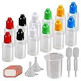 KAKOO 12 pz 30 ml Contagocce Bottiglie Multiuso Portabile Bottiglia Plastica Squeezable Liquidi con Punta Sottile Imbuto Misurino Pipette per e-liquidi