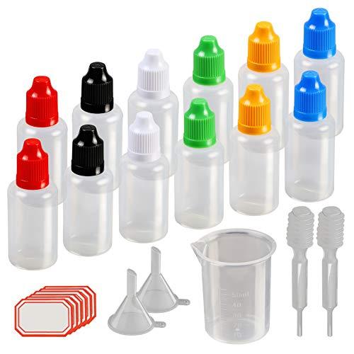KAKOO 17tlg Tropfflasche Set, 12x 30ml Leer Plastikflaschen Dosier-Flaschen Liquidflaschen Kindersicherung Deckel in Bunt mit Trichter Pipette Messbecher für DIY Kraft