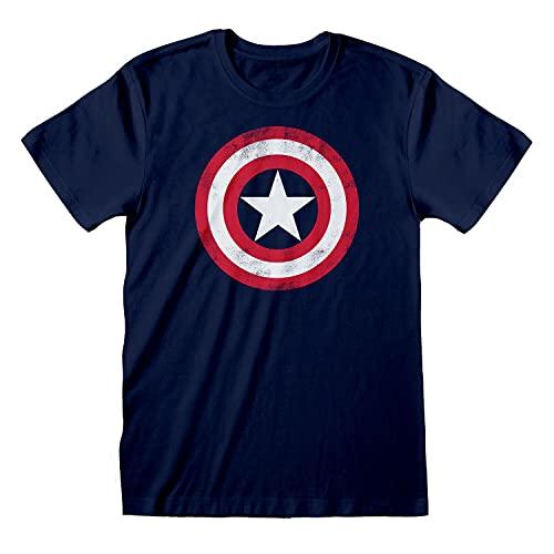 Mens Marvel Avengers Assemble T Shirt Captain America Distressed Shield Tee
