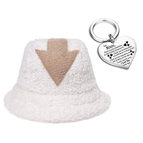 Elibeauty Winter Faux Fur Bucket Hat with Arrow Symbol Printed and Heart Keyring Set Perfect for Mother and Daughter Gifts Show Your Love to Her(type 1)