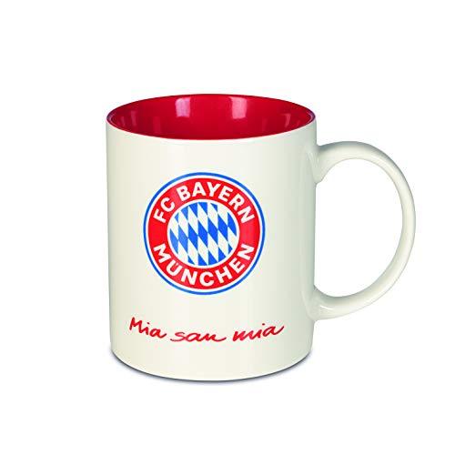 FC Bayern München Tasse Mia San Mia | Bayern München Fanartikel Kaffeebecher 350ml | Becher aus dem FCB Fanshop mit Logo und Mia San Mia Schriftzug | Keramiktasse Weiß für Bayern Supporter [Rot/Weiß]