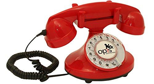 Teléfono fijo retro con disco de marcar en el estilo sinuoso de la década de 1920, con timbre electrónico moderno (rojo)