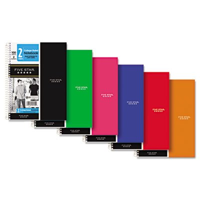 """Five Star 06180 9-1/2"""" X 6"""" College Ruled 2 Subject Notebook Assorted Colors"""