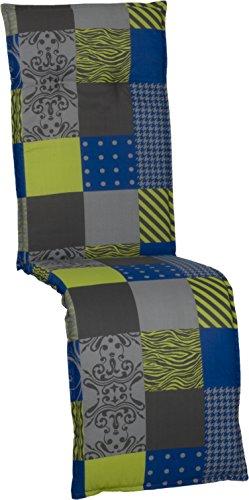 Beo Kissen Polster für Relax in karo schwarz gelb blau und anthrazit für Gartenmöbel