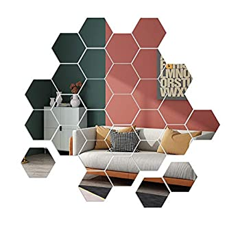 Mirror Wall Stickers 36pcs Removable Acrylic Wall Decals Hexagonal Adhesive Mirror Tiles Wall Decor for Home Living Room Bedroom DIY Non Glass  5 x 4.5 x 2.5 inch
