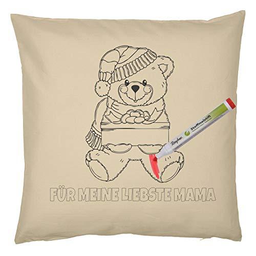 Tini - Shirts Mama, Mutter Weihnachtsmotiv Malvorlage Kissen-Bezug : Teddy Bär Für Meine liebste Mama - Kissenbezug und 5 St. Stifte Set