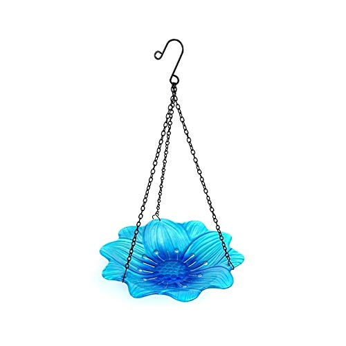 LIUYAWEI Hanging Bird Bath Blue Flower Glass Bowl Feeder for Garden Decoration Outdoor Yard and Patio and Bathroom Accessories for Bird,Blue