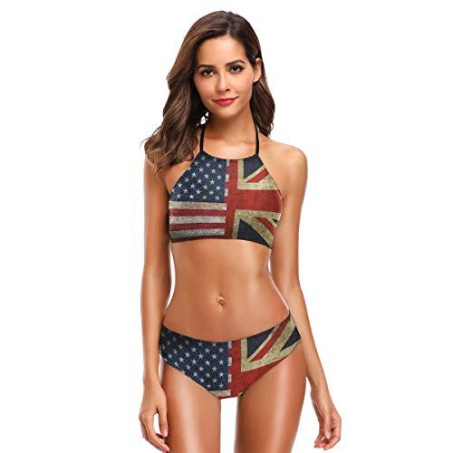 CaTaKu Rusty Bikini-Set mit amerikanischer und englischer Flagge, Badeanzug, Strandanzug, Badeanzüge für Teenager, Mädchen, Frauen - mehrfarbig - Small