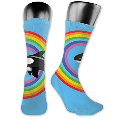 Papalikz Compression Medium Calf Socks,Modern Design With A Killer Whale Jumping Into A Circle Made From Rainbow