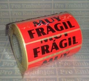 500 Etiquetas MUY FRAGIL -Tamaño 94x38 mm. - Papel rojo fluor e impesas en negro.