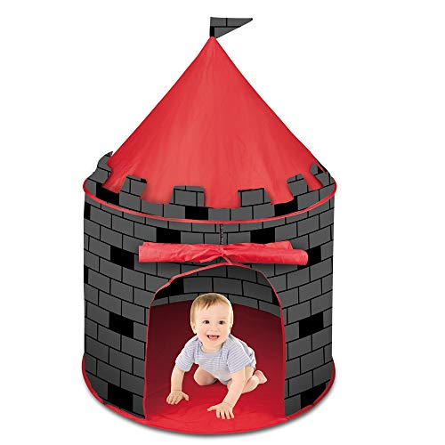deAO Red Castle Quick Assemble Play Tent for Kids Pop Up Design Easy Assemble for Outdoors and Indoors