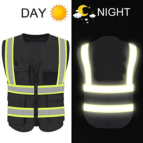 High Reflective Visibility Safety Vest Protective Safety Workwear with Reflective Strips and Front Zipper (Black(Green Webbing)-Small)
