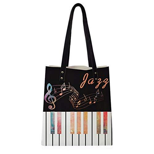 Mzdpp Lässige Tote Pu Leder Handtaschen Musik Ergebnis Muster Damen Handtaschen Für Mädchen Einkaufen Strandtasche Tragbare Taschen Mit Griff -RC0286