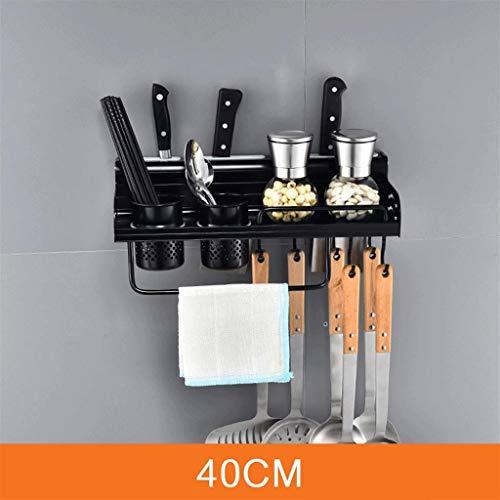 Keukenrek muur voor keuken keukenhangers pot rek muur Pot Pan Storage Rack montage-accessoires voor keuken balkon en badkamer multifunctioneel als kruidenrek of badkamerrek (zwart 40 cm.