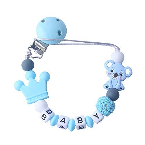 Clip Chupete Bebé personalizado Con Nombre Cuentas Masticables Silicona Soothie Toy Clip Chupete Nombre Personalizado Cadena Chupete Regalo Cumpleaños Ducha único para Niños Niñas - Azul