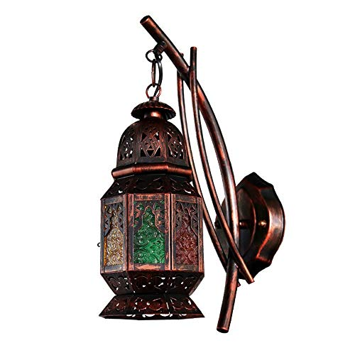 YBright Marocchino Ottomano Stile riparo della parete di vetro colorato turco lampada da parete coperta Bohemian decorativo Lanterna Presa a muro metallo E27 le lampade Arabico Orientale Rusty Apparec
