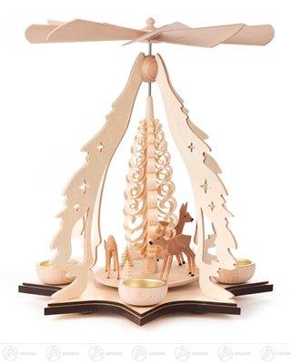 Pyramide mit Rehen, für Teelichte Breite x Höhe x Tiefe 27,5 cmx31 cmx27,5 cm NEU Erzgebirge Tischpyramide Weihnachtspyramide