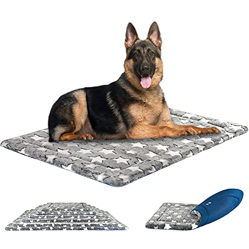 KROSER Pet Bed Mat 24'/30'/36'/42'/48'/54' Reversible Mat (Cool & Warm) Stylish Dog Bed High Density Foam Machine Washable Crate Pad for Dog Cat 25lbs-130lbs